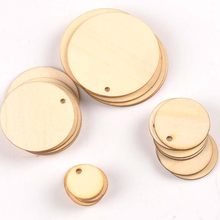 50pcs Mix Round Shape Natural Wooden Ornament For Scrapbooking DIY Wood Carfts One Hole Handmade Accessory Home Decoration m2149(China)
