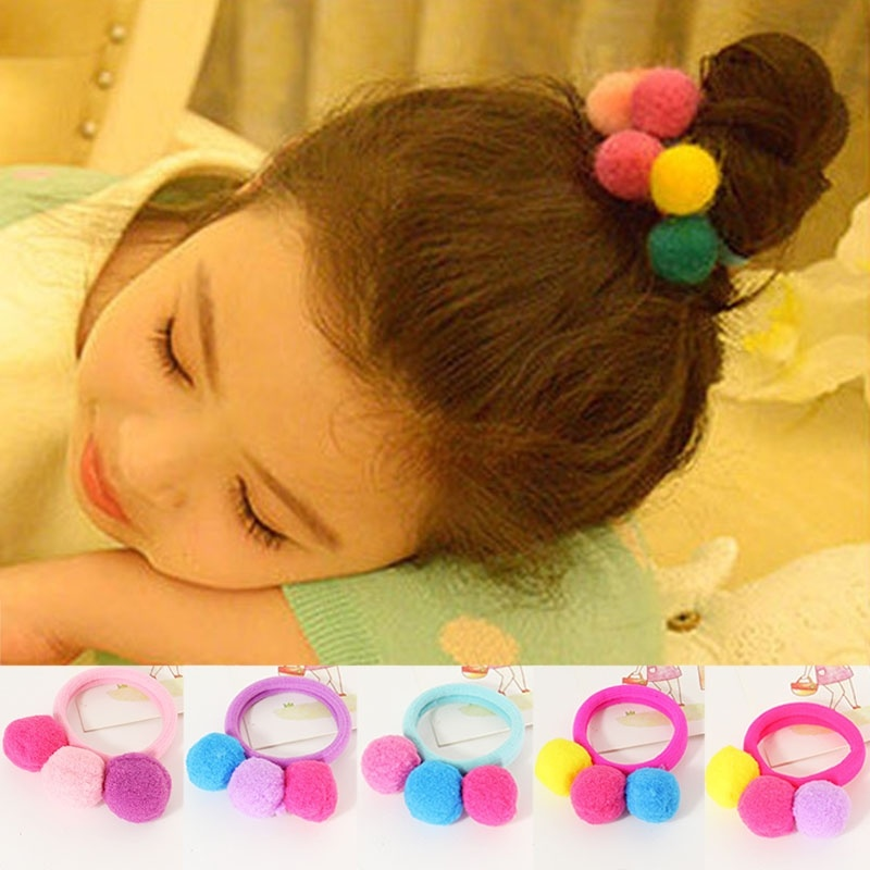 Hair Ball Girl Tie Head Baby Child Bands  1 PC Elastic Rope Candy Accessories  3 Color  Balls
