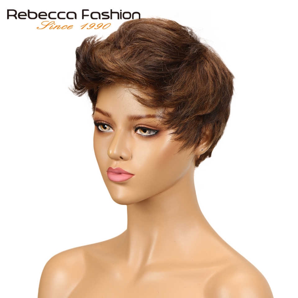 Rebecca mix cor onda ondulada curta peruca de cabelo peruano remy perucas de cabelo humano para preto feminino marrom peruca vermelha frete grátis