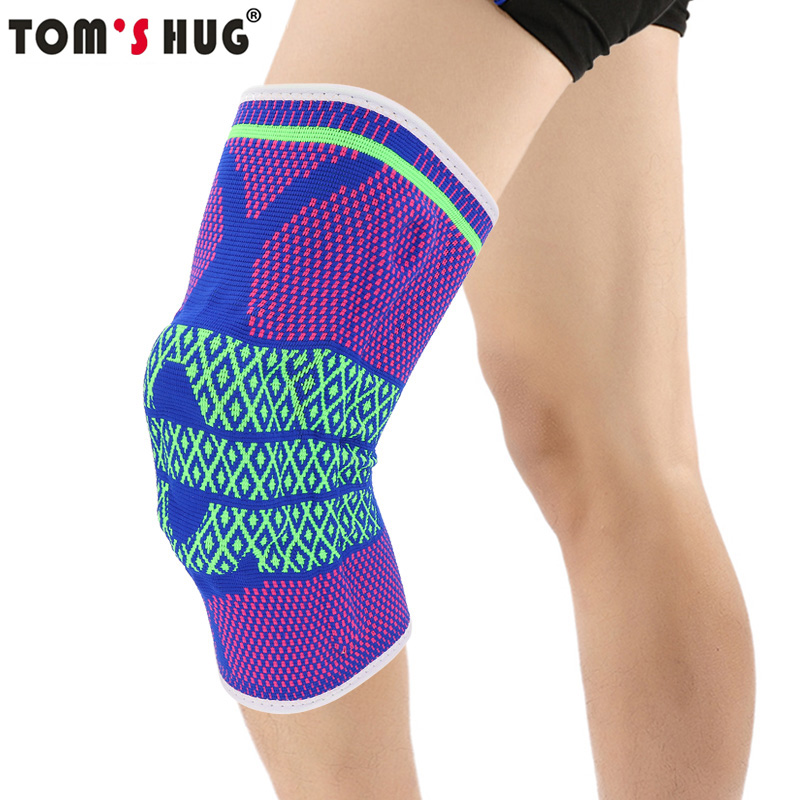 Tom's Hug Silicon Pad Spring Knee Brace Support 1 Pcs Joint Pain Relief Knee Pad Warm Blue Rose Green Pattern Meniscus Kneepad