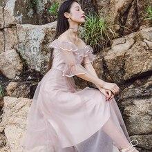 c2bb3b0a6b 2018 Lato Kobiet Talii Cienki Retro Sukienka tiulowa Tajne Pół Rękaw Sexy  lace Vintage Różowe Sukienki wakacyjne