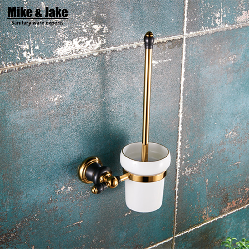все цены на Luxury Golden finish toilet brush holder with Ceramic cup whole brass bath brush rack toilet wall brush kit bathroom accessories онлайн