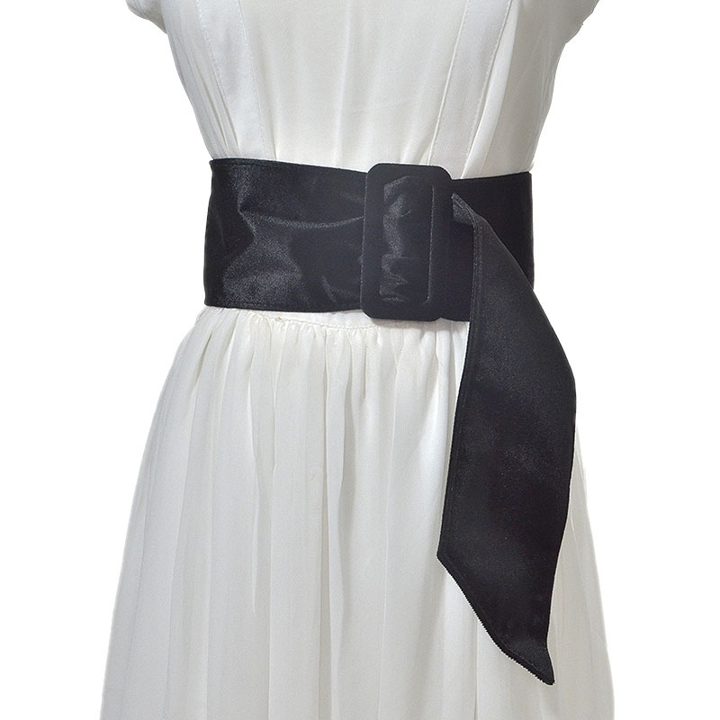 Fashion New Belt Spring 100% Fabric Wide Belt Soft Women's Wild Decorative Trench Coat Buckle Belts Black/Red/Navy bg-901