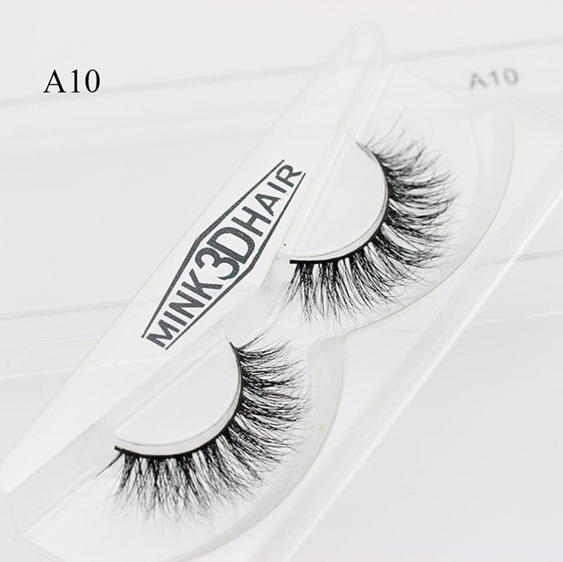 A10 Top Eyelashes 3D Mink Lashes Natural HandMade Full Strip Lashes Transparent Terrier Short Mink Lashes Style False Eyelashes