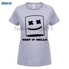 100% cotton O-neck printed T-shirt Keep It Mello Marshmallow Tee Mask Head Face Black for men