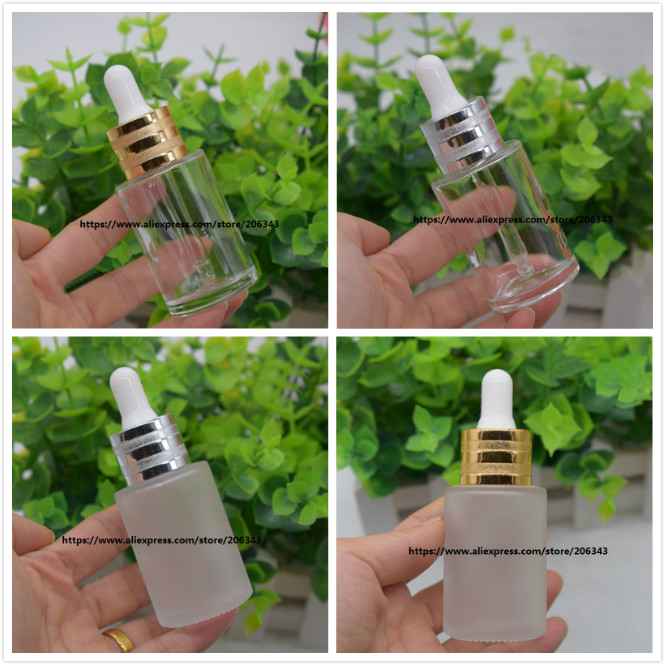 30ML frosted transparent glass bottle for serum essence essential oil water liquid dropper bottle cosmetic packing