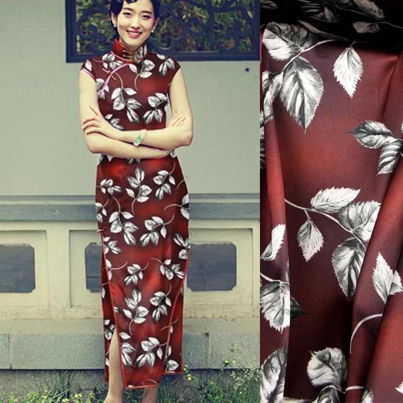118CM Wide 19MM 93% Silk & 7% Spandex Leaves Print Stretch Red Silk Satin Fabric for Summer Dress Clothes Cheongsam D1057118CM Wide 19MM 93% Silk & 7% Spandex Leaves Print Stretch Red Silk Satin Fabric for Summer Dress Clothes Cheongsam D1057
