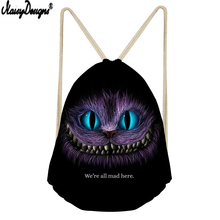 NOISYDESIGNS Kids Drawstring Sack Cartoon Cute Cheshire Cats Printed Women Small Shopping Mochilas Custom Football Storage Bag