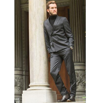 New Designs Grey Double Breasted Men Suits Slim Fit Formal Wedding Tuxedo Men Suits Custom Made (Jacket+Pants)