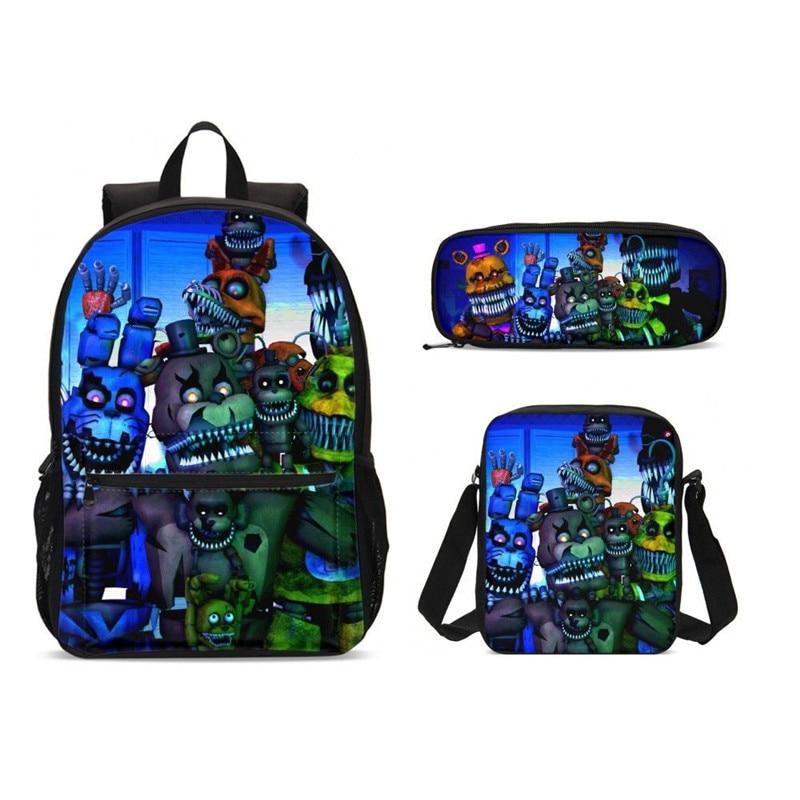 New Five Night At Freddy School Backpack Set Teenage Girls Boys Student Kids Laptop Bagpack Children School Bags Satchel Enfant