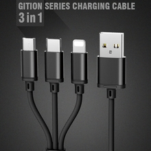 REMAX 3in1 Micro USB Cable Lighting Type C Fast Charging Charger for iPhone Samsung IOS
