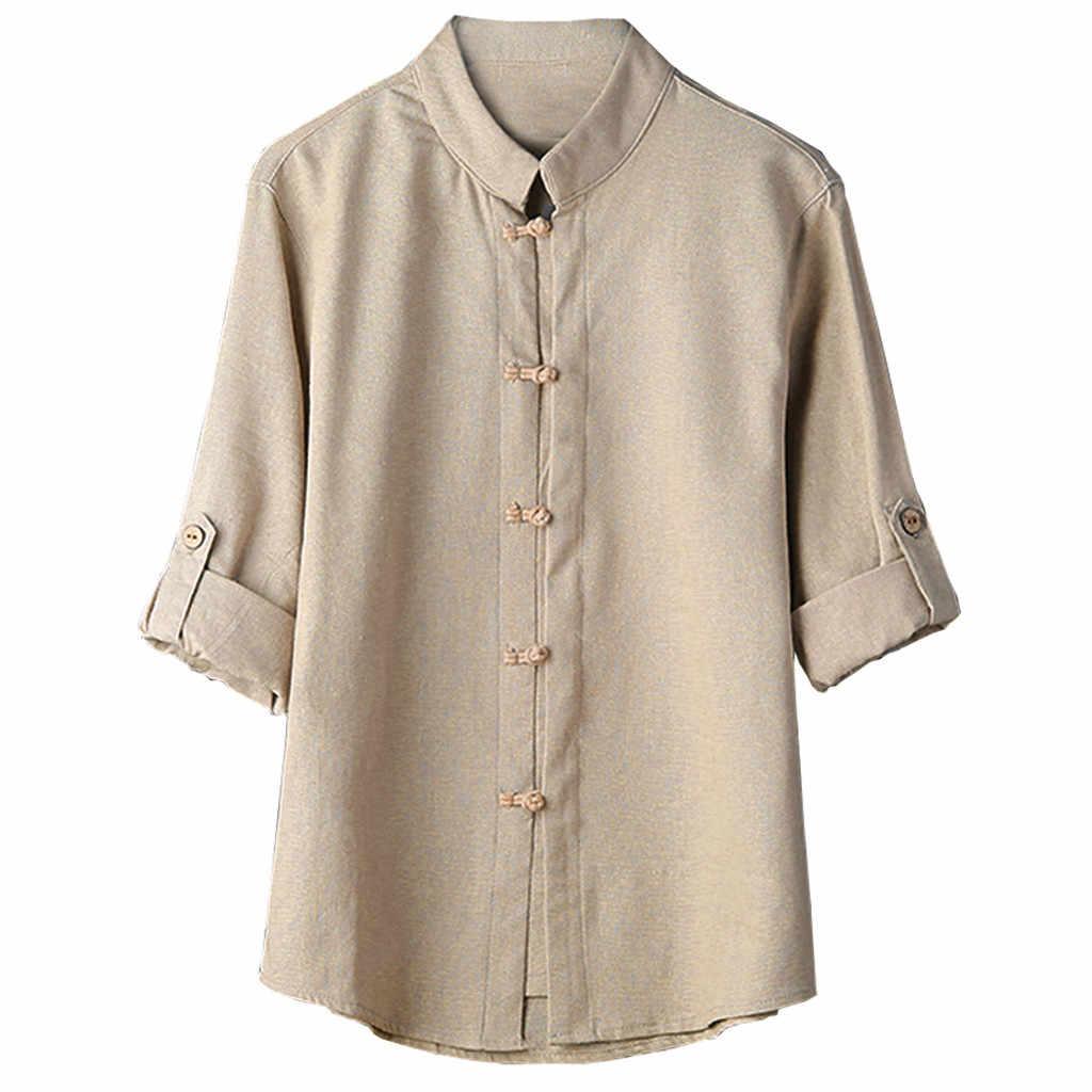 2018 新ファッションホット男性古典的な中国風のカンフーシャツトップス唐装 3/4 袖リネンブラウス高品質快適 c0409