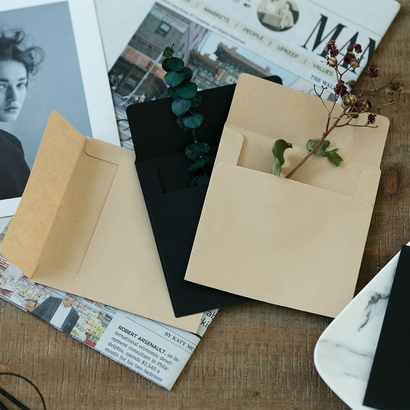 50pcs/lot Vintage Mini Envelopes 10cm*10cm Craft & Black Envelopes European Style Envelope For Card Wedding Scrapbooking Gift