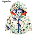 2017 Autumn New Children Jacket For Boys Dinosaur cartoon printing Decorative Baby Boys Outerwear & Coats Kids Waterproof Jacket