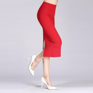 Image 5 - 1Pc Solid Pencil Skirt Knitted Stretch Elastic Office Lady High Waist Womens Skirt Black Fashion Red Color Long Skirt Hot Sale