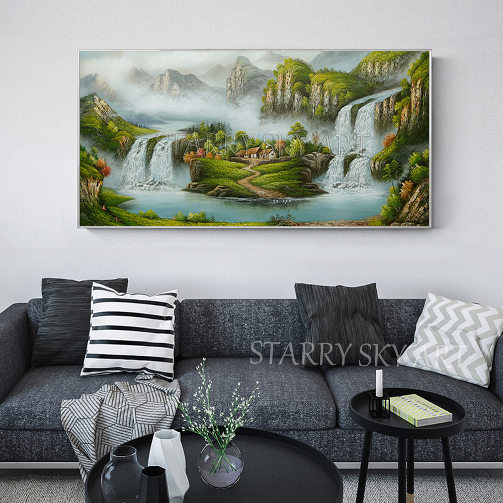 Excellent Artist Hand painted Traditional Chinese Feng Shui Oil Painting on Canvas Chinese Treasure Bowl Landscape Oil Painting - 4
