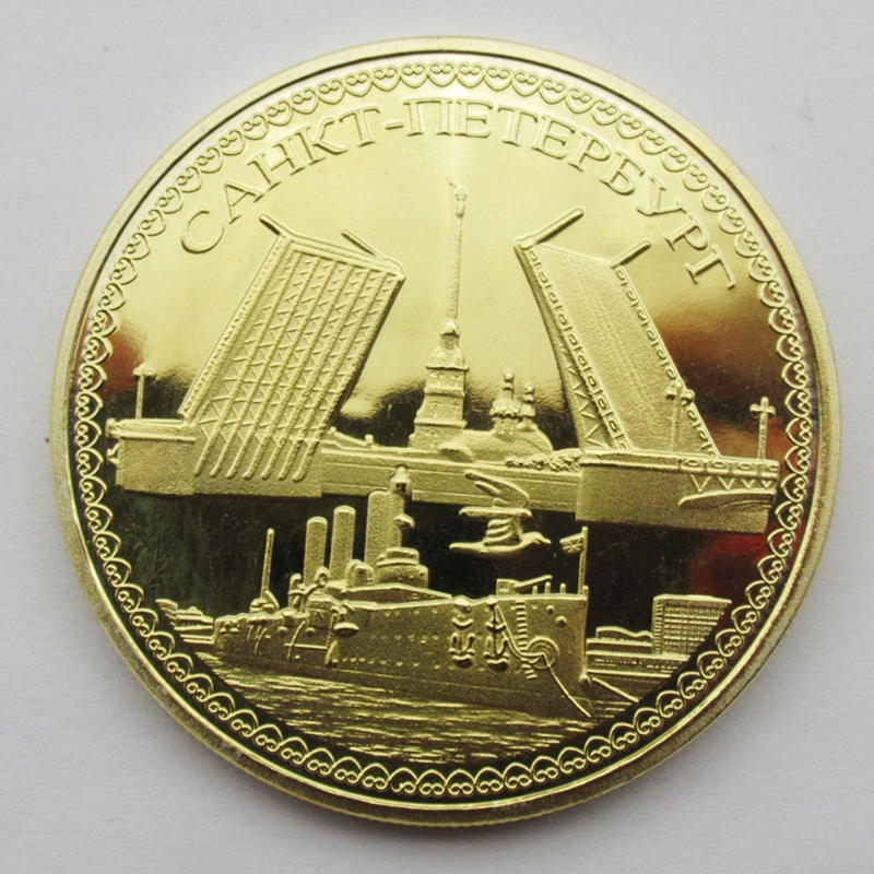 Russia Coin Gold Plated Aurora Cruiser Russian St Petersburg Lenin Souvenir Metal Craft Coins