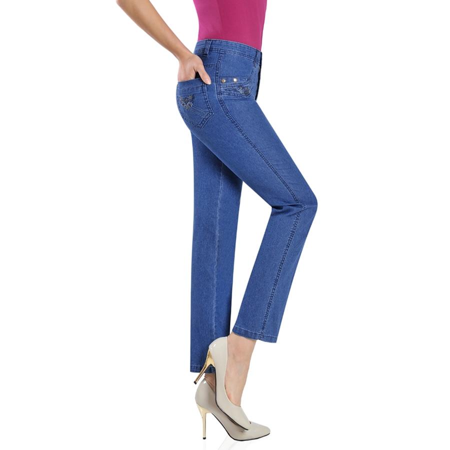 ФОТО Straight Trousers Ladies Pants Summer Elegant Denim Embroidered Jeans Women Mom Donna Plus Size Tejanos Ladies Costume 70G032