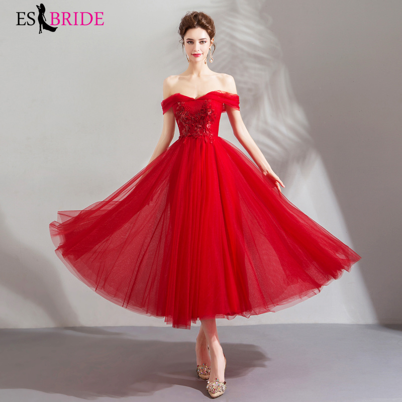 Red New Arrival Ladies Long   Evening     Dresses   2019 Elegant Boat-Neck Lace Plus Size Formal Gowns A-line Robe De Soiree ES2238
