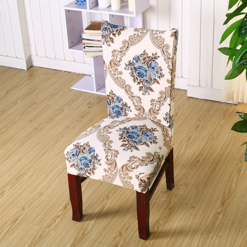 Polyester Spandex Chair Covers Western Style Printed Elastic Dining For Wedding Party Seat