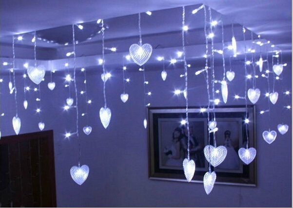 Multicolor LED String Strip Festival Holiday <font><b>Light</b></font> Christmas Wedding Decorate Curtain lamps 4m 100 SMD 18 Hearts EU/US/UK/AU