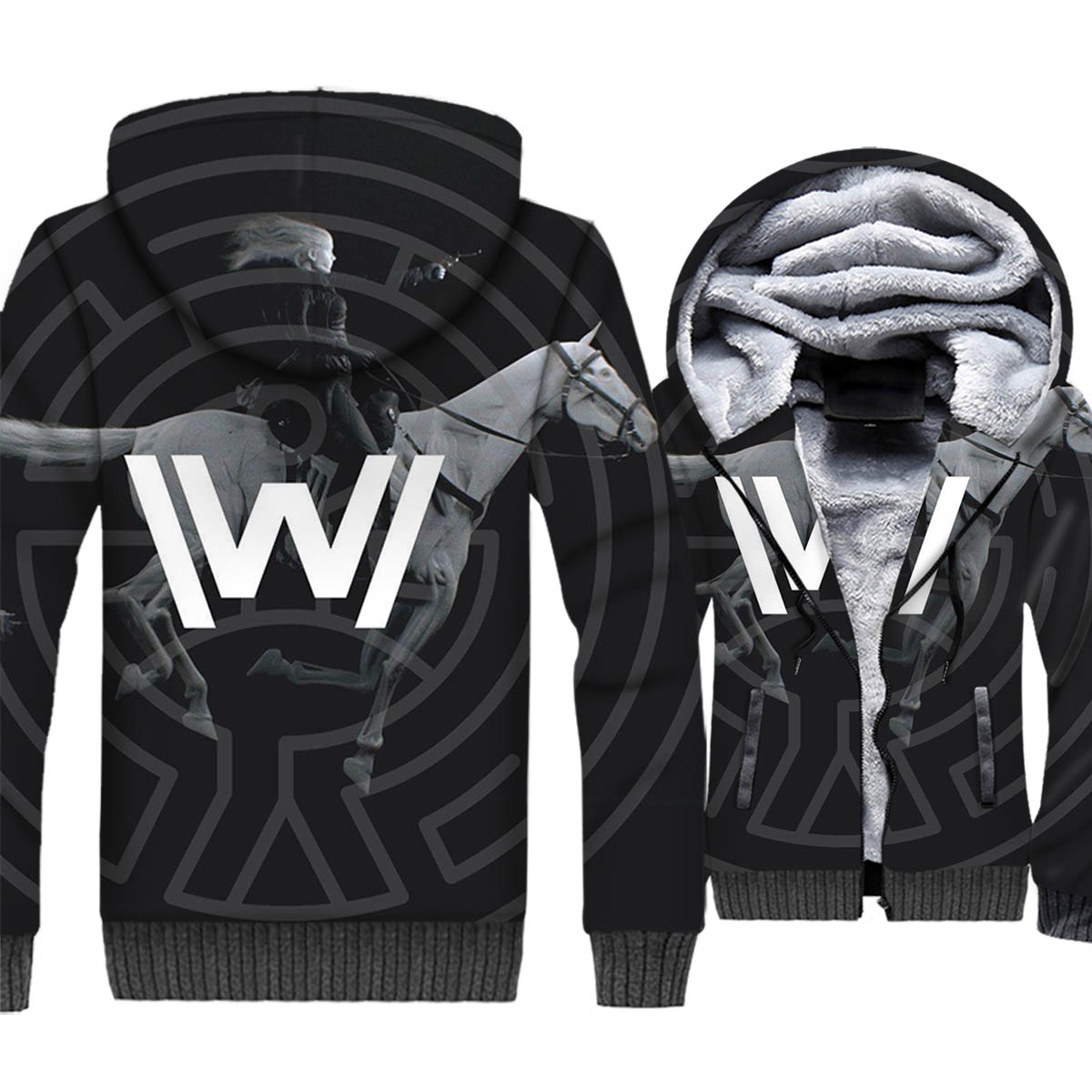 sportswear harajuku plus tracksuits winter casual wool liner zipper hoodies 2018 new hot TV series Westworld jackets coats M 5XL