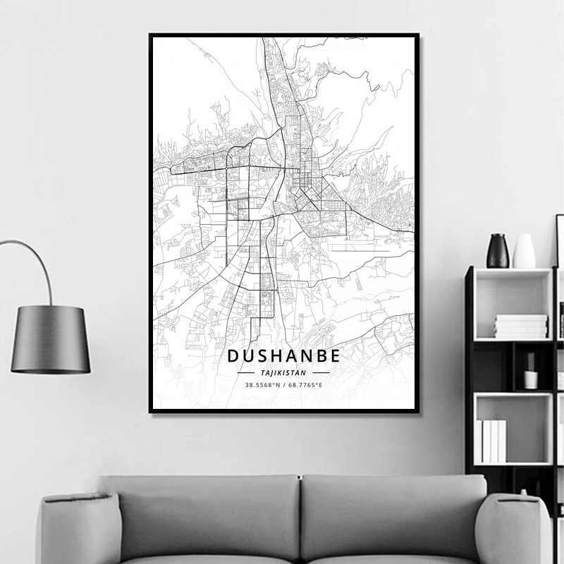 Póster de Dushanbe Tajikistan, moderno Mapa de ciudad, impresión artística, decoración para habitación o hogar