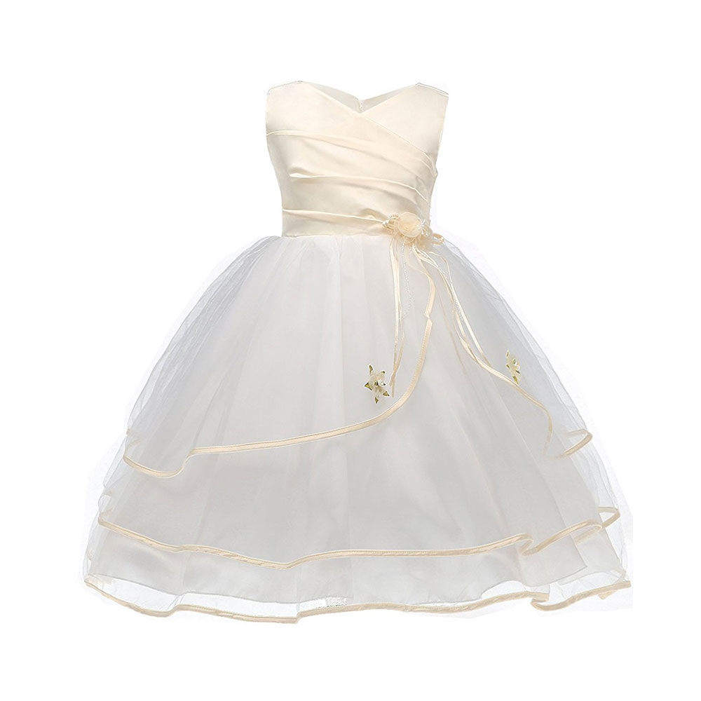 Baby Girl Wedding Dress Children Brand Clothing Girls Dresses Champagne Kids Long Evening Party Wear Design For Princess Clothes baby girls dress summer 2017 brand girls wedding dress cotton princess dress for girls clothes kids dresses children clothing