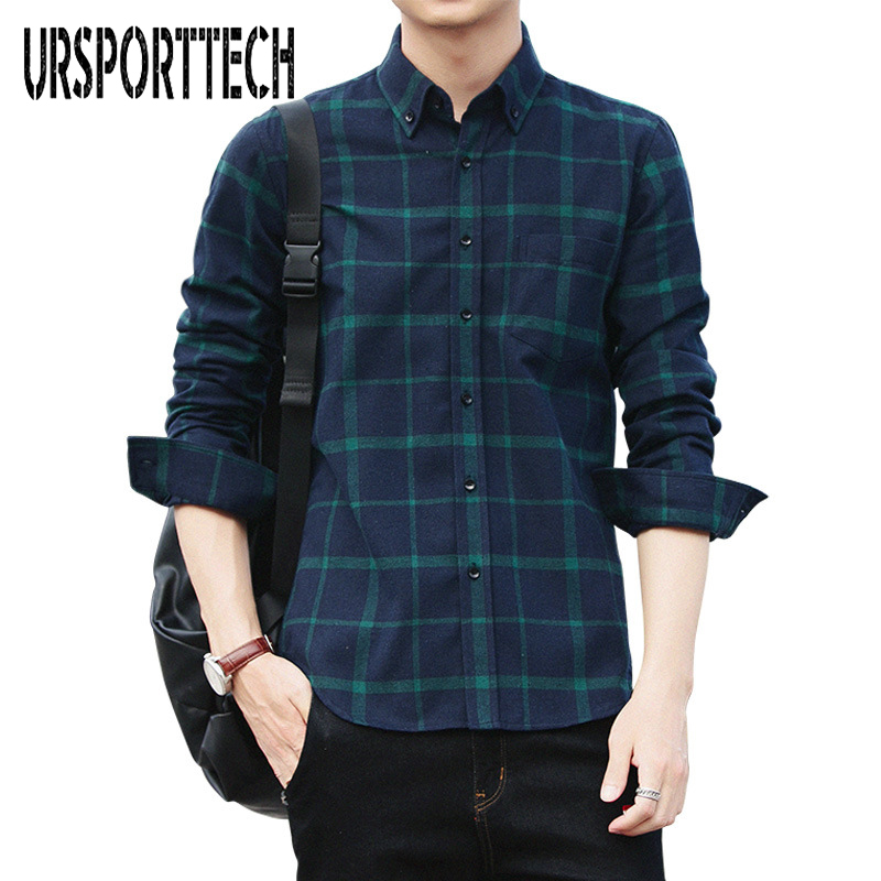 New Autumn Casual Cotton Plaid Slim Body Trend Large Size Youth Mens Long-Sleeved Shirt