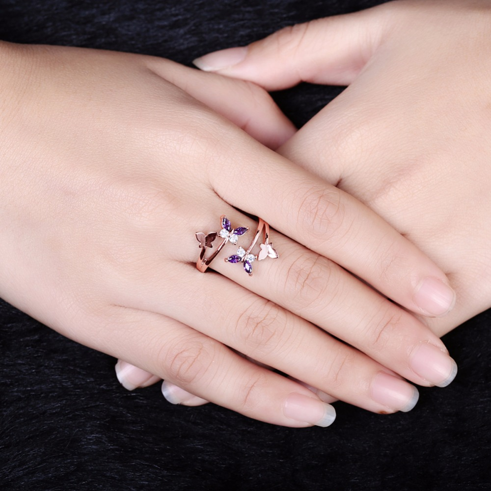 GNIMEGIL Lovely Ladies Butterfly Ring Rose Gold/Silver Color Open ...