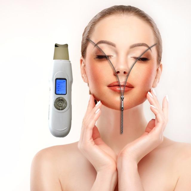 2 unids/pack piel limpiador facial ultrasónico espátula para terapia de iones piel limpia suave peeling and face led ultrasónico piel apriete