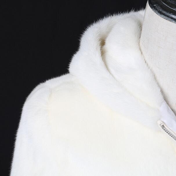 Weiße Mode mit Kapuze warme lässige Kunstfuchs Pelzmantel Herren - Herrenbekleidung - Foto 5