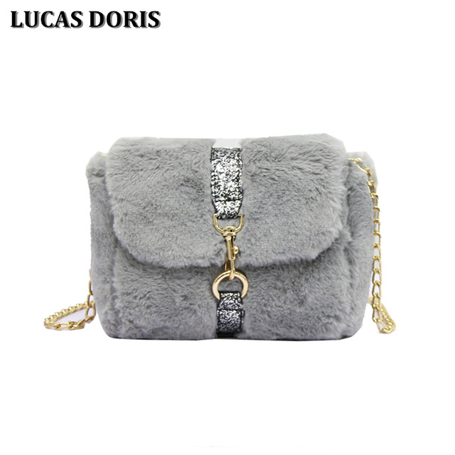 2017 Winter Faux Fur Leather Small Women Messenger Bag Fashion Female Plush  Crossbody Bag with Chain b401fe3360869