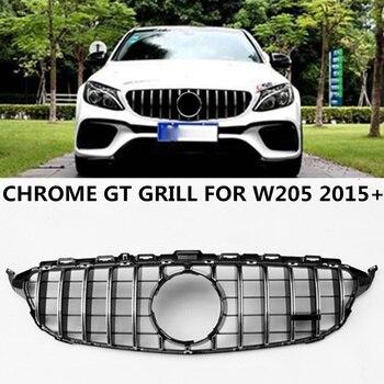 GT Style Grill For Mercedes C Class W205 C200 C250 C300 C350 4-DR Sedan Chrome/Black ABS GTR Front Bumper Grille Without Emblem