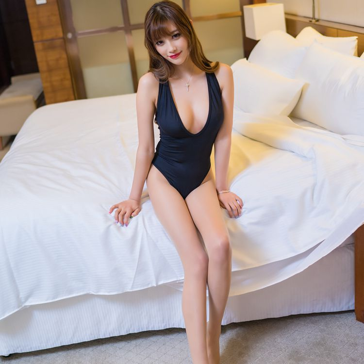Sexy Women Deep V Neck High Cut Bodysuit Thong Swimsuit Black Jumpsuit Bodycon Erotic Lingerie Women Underwear Body Suits FX15