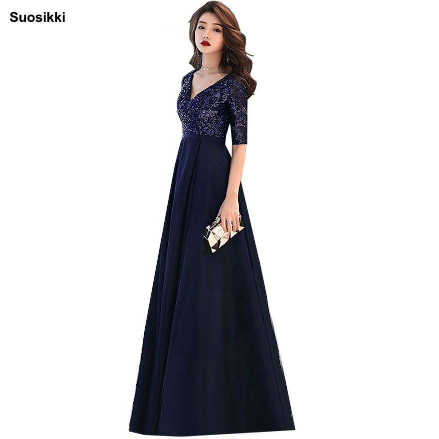 Suosikki V-neck Navy Blue Long Evening Dress Beaded Vintage Prom Gowns Vestido De Festa Half Sleeve Cheap Evening Gown