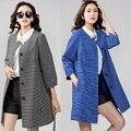 2015 Otoño Invierno Moda Mujeres Más El tamaño de lunares jacquard gabardina outwear de Tres cuartos de la manga floja delgada de la blusa topXXXXL