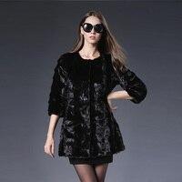 Real Fur Hot Sale O neck Solid 2017 New Genuine Coat Shawl Jacket Women Long Luxury Mink Fur Winter Three Quarter Sleevethick