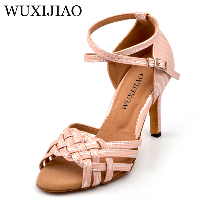 WUXIJIAO For Women Chinese knot Design Latin Salsa Dance Shoes Soft Bottom Sandals Pink/Yellow/Golden/Silver PU Dancing Shoes цена 2017