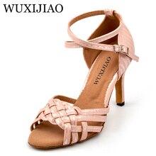 66da195cd WUXIJIAO للنساء الصينية عقدة تصميم اللاتينية الصلصا الرقص أحذية لينة أسفل  الصنادل الوردي/الأصفر/