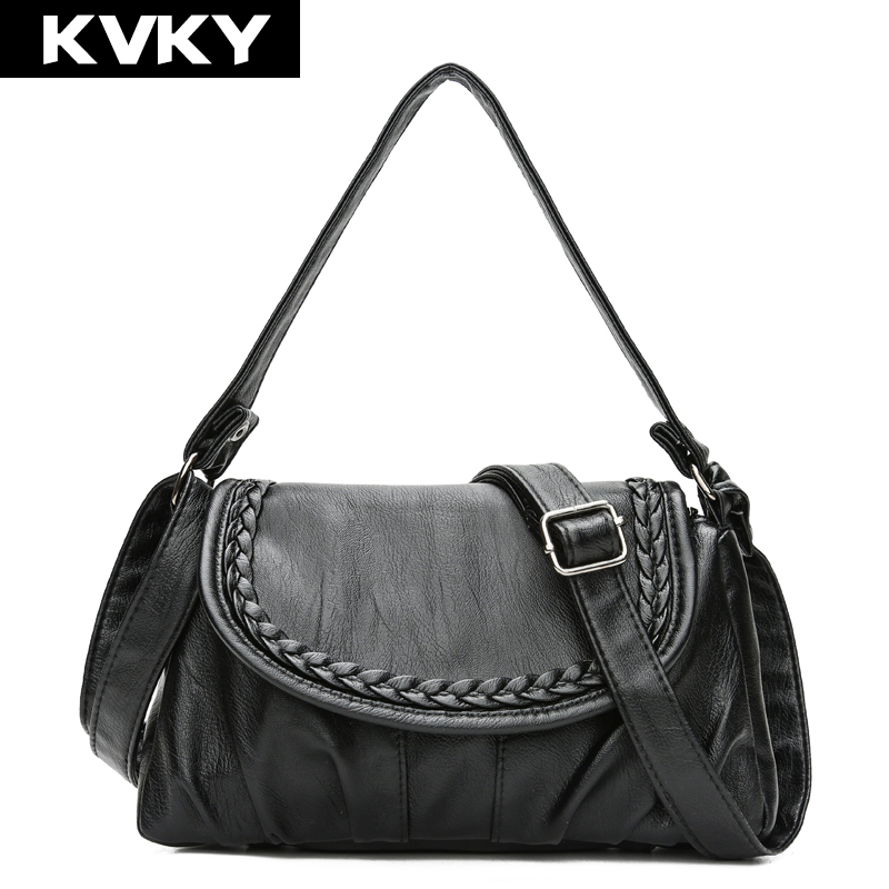 KVKY Brand Women Messenger Bags Designer Soft Leather Handbags High Quality Single Strap Shoulder Bag Lady Cross Body Bag Bolsas