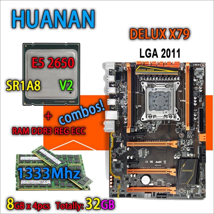 HUANAN golden Deluxe version X79 gaming motherboard LGA 2011 ATX combos E5 2650 V2 SR1A8 4 x 8G 1333Mhz 32GB DDR3 RECC Memory deluxe edition huanan x79 lga2011 motherboard cpu ram combos xeon e5 1650 c2 ram 16g 4 4g ddr3 1333mhz recc gift cooler