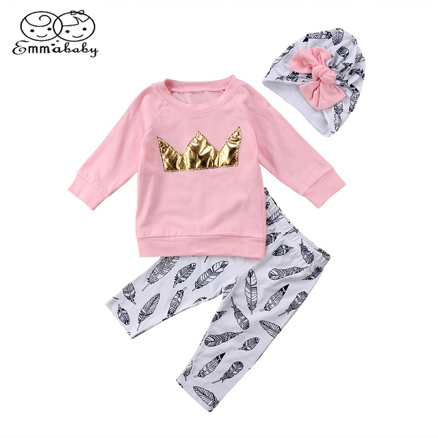 7efc3f02d502 Emmababy Crown Print Girl Birthday clothes Toddler Kids Baby Girls Long  Sleeve Tops T-shirt+Pants+Bow Hat 3Pcs Clothing Outfits