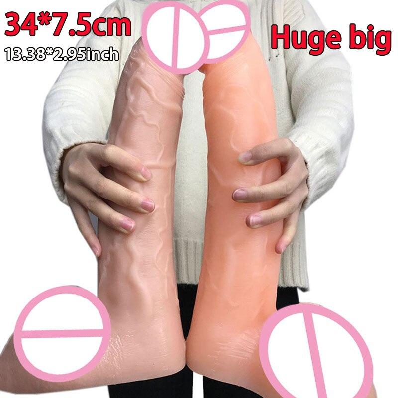 34*7.5 cm énorme gode super grand épais réaliste pénis géant grand gode jouets sexuels pour adultes pour femme longs godes souples pour les femmes
