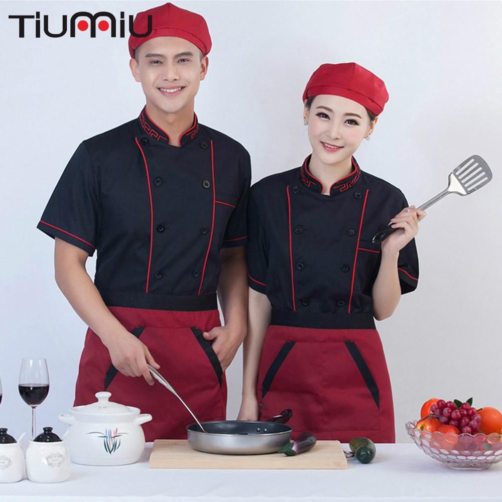 Chef Jacket Food Service Unisex Short Sleeve Summer Restaurant Kitchen Cooking Workwear Cafe Hotel Waiter Uniforms Tops Aprons