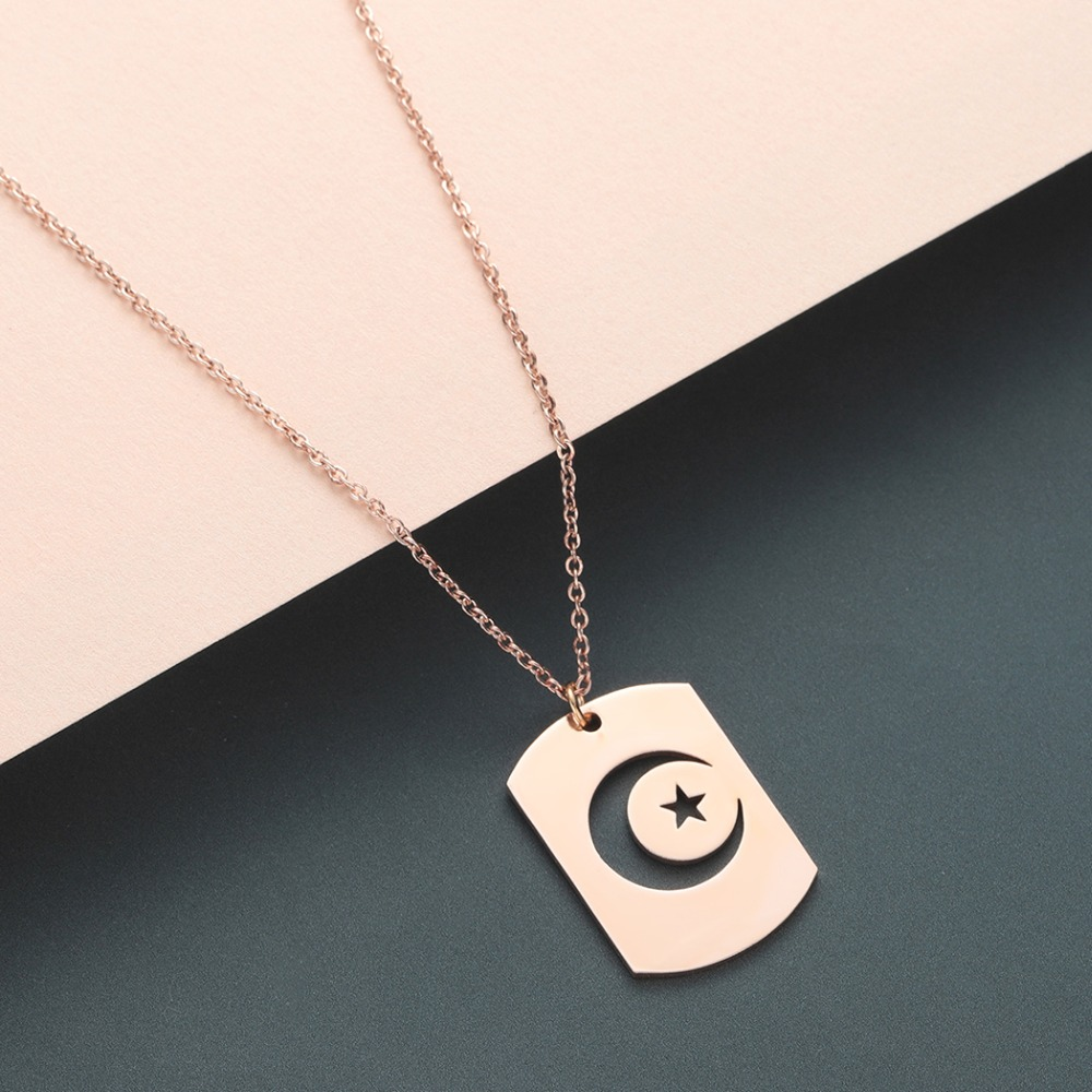 Chereda Best Friend Hollow Moon Vintage Necklace Chain Choker Star Long Chain Stainless Steel Necklace Pendant jewellery bijoux in Pendant Necklaces from Jewelry Accessories