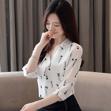 New Style Seven Sleeve V Neck Printed All-match Fashionable Female Girls Sweet Chiffon Blouses Shirts