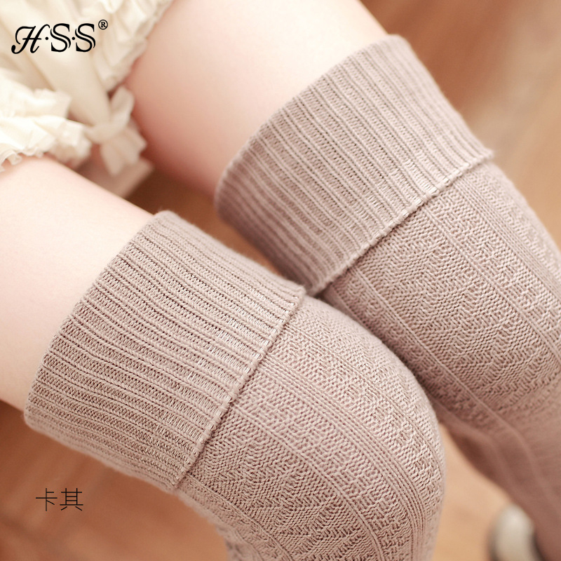 Thick knit stockings Knee high cotton Women stockings Female student thin leg stockings thigh White Black