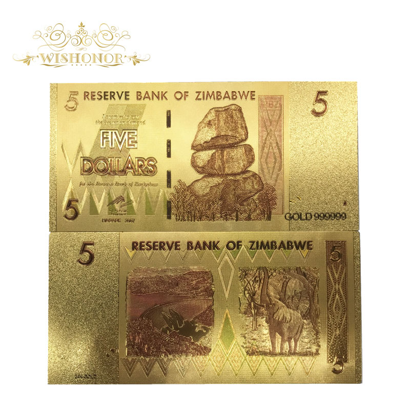 10pcs/lot Nice Zimbabwe Banknotes <font><b>5</b></font> <font><b>Dollar</b></font> <font><b>Bills</b></font> Banknotes in 24k Gold Plated Fake Money Replica For Collection image
