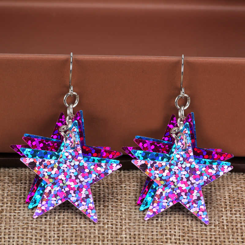 Night Club Shiny Sequins Earring Charms Big Sequin Star Pentagram Earrings Women Brincos Kolczyki Pendientes Mujer Oorbellen